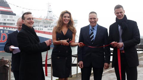 DFDS Kelly Brook cutting ribbon