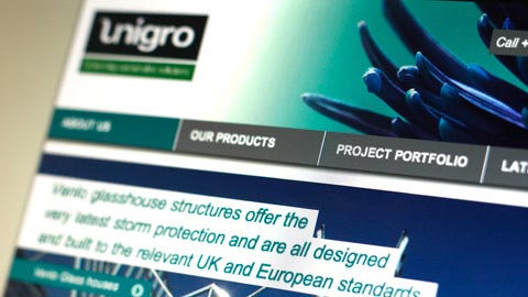 Unigro website close-up